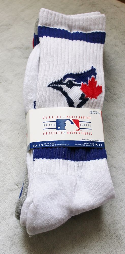 MLB Baseball Toronto Blue Jays Mens 3 Pack Adult Socks 10-13 White Blue Gray #GertexHosiery #Casual
