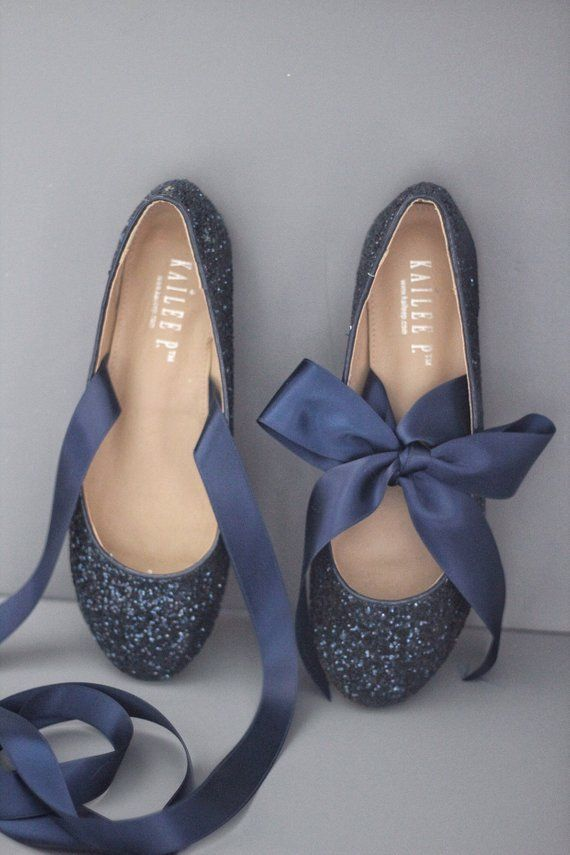 bb0a12562e95 NAVY BLUE ROCK Glitter flats with satin bow tie - Women Gold Wedding Shoes  - Bri