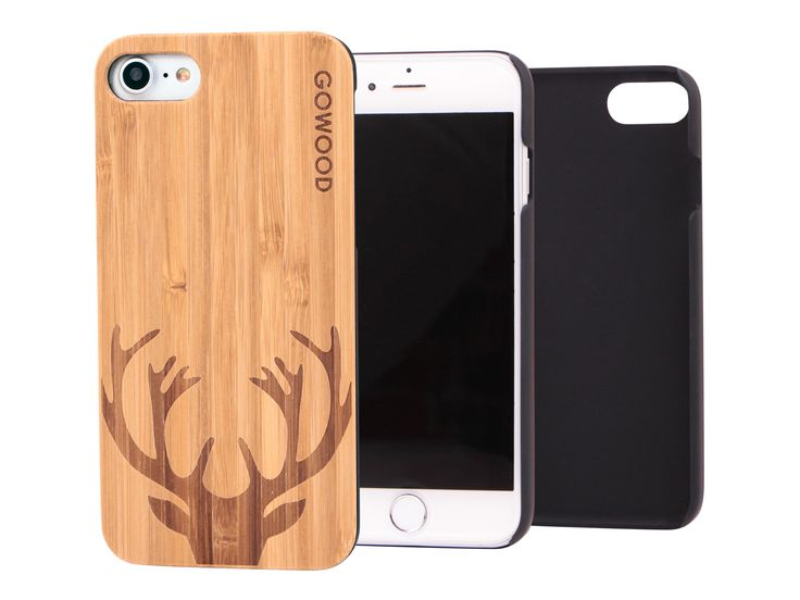 iPhone 7 wood case with engraved deer on bamboo backplate & shock absorption protective polycarbonate sides. #iPhone7 #wood #deer #bamboo #case
