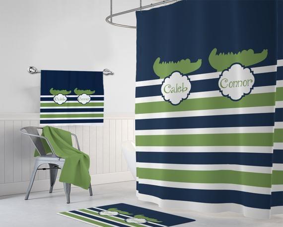 Alligator Shower Curtain Alligator Bathroom Decor Shared Boy