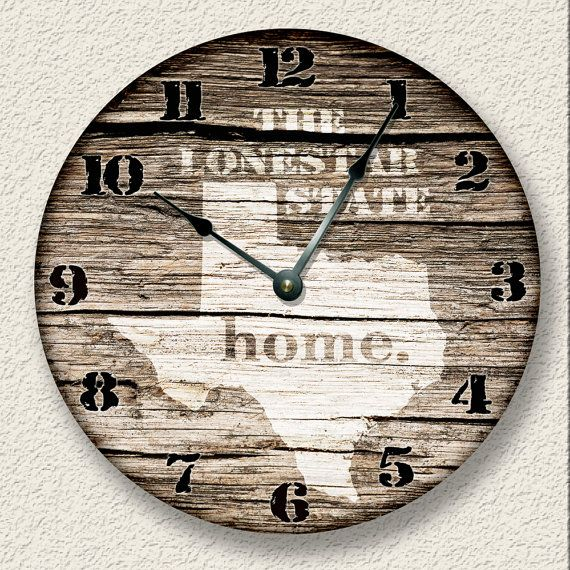 Texas Home State Wall CLOCK Barn Boards pattern by FancyThisBaby