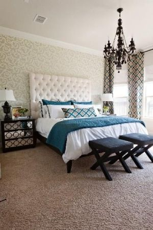 white and teal bedroom black chandelier by paulacontrerasg