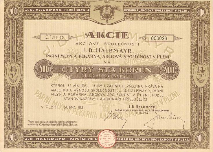J. D. HALBMAYR, parní mlýn a pekárna akc. spol. v Plzni (J. D. HALBMAYR, Dampfmühle und Bäckerei AG. in Pilsen). Akcie na 400 Kč. Plzeň, 1921.