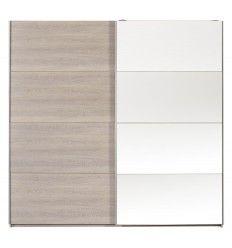 Armoire pour adultes à 2 portes coulissantes avec miroir coloris chêne naturel