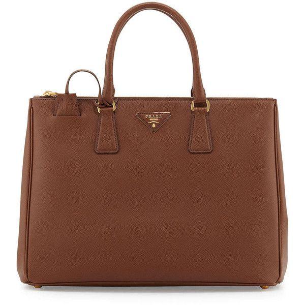 Prada Saffiano Executive Tote Bag ($2,430) ❤ liked on Polyvore featuring bags, handbags, tote bags, bolsas, dark brown, brown tote, top handle handbags, brown tote bag, prada tote and brown handbags