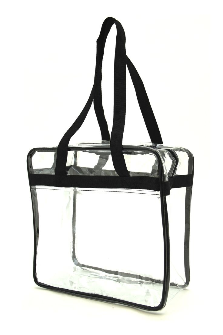 """NFL Approved Clear Tote Bag/ Clear Work Tote Bag/ Security Tote bag, Black. Clear security stadium tote bag approved by the NFL. Heavy Clear PVC material. Fabric Handles. Double zippered top closure. Front slip pocket. Double Strap: 29.5 inches. Size: 12.00"""" W x 12.00"""" H x 6.00"""" L."""