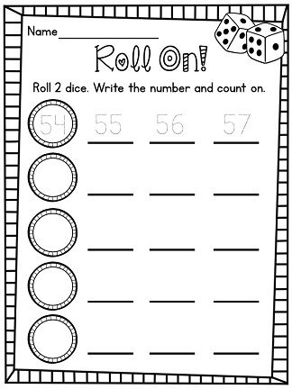 Counting forward from any number center! LOVE! Kids roll 2 dice, write the number it makes (5 and 4 make 54), and the next 3 numbers