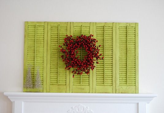 shutters: Fireplaces Mantles, Old Shutters, Fireplaces Mantels, Decor Ideas, Green Shutters, Christmas, Repurpoed Shutters, Diy, Crafts