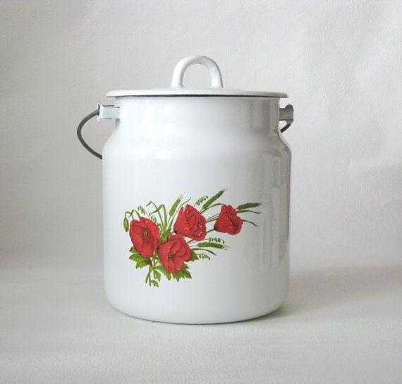 Enamel Kitchen Accessories: Soviet Vintage Enamel Milk Can With Lid. White Milc Can
