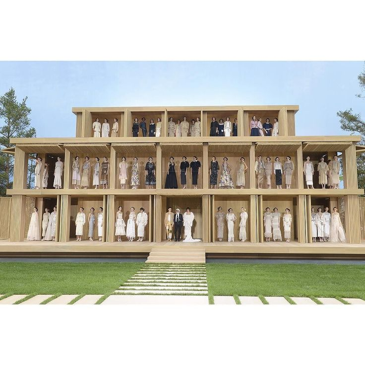 #Sustainability took centre stage at @chanelofficial's @hautecouture_week #fashion show with a wooden house. #windowdisplays #visualmerchandising