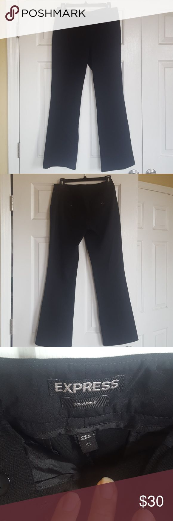 Express women's Columnist, size 2S, black slacks Great condition, never worn! Women's Express Columnist boot cut, black dress pants, Size 2S Thank you for viewing! Express Pants Trousers