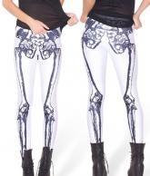 Leggings blanc avec motif squelette noir rock gothique