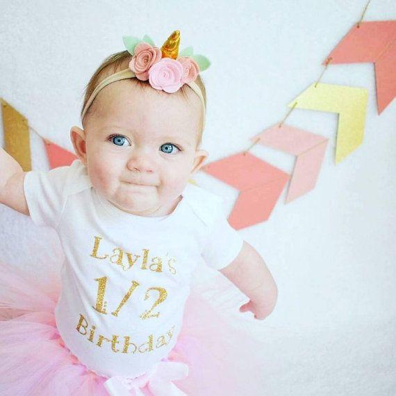 a23a72fbb Unicorn Half Birthday Girl | 6 Month Photo Outfit Girl | 1/2 Birthday Shirt  | Half Birthday Outfit | Half Way to One | Cake Smash Baby Girl