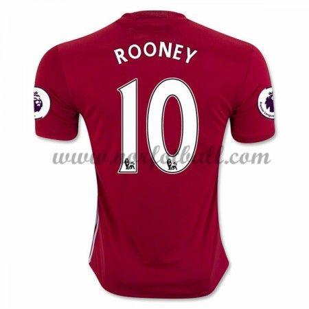 Billige Fotballdrakter Manchester United 2016-17 Rooney 10 Hjemme Draktsett Kortermet