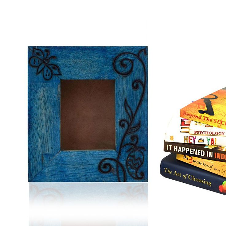 Passport Size Wooden Engraved Photoframe In Blue | #simple #Decor #PhotoFrames #simple, #Decor, #PhotoFrames,