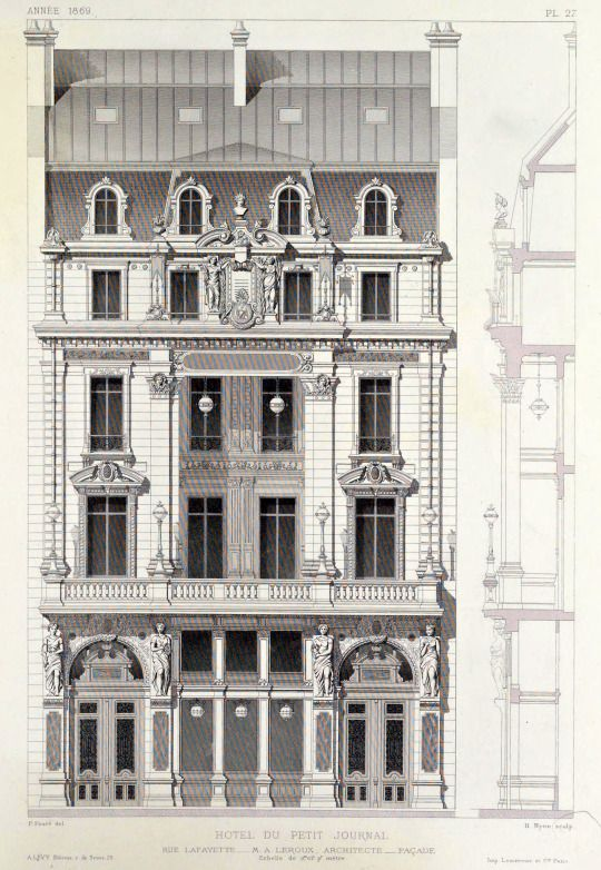 ARCHI/MAPS Elevation of the Hotel du Petit Journal on Rue Lafayette, Paris