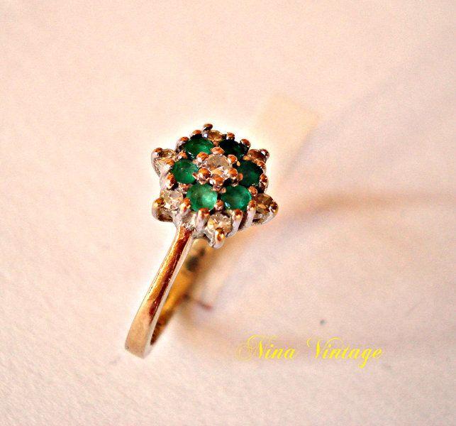 Anello con Smeraldi e Diamanti di Nina Vintage su DaWanda.com