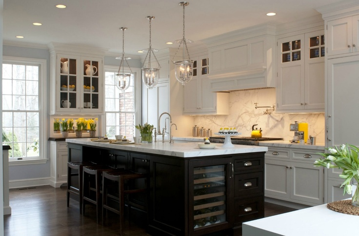 cabinets with a dark island Kitchens Photo, Kitchens Design, Lighting
