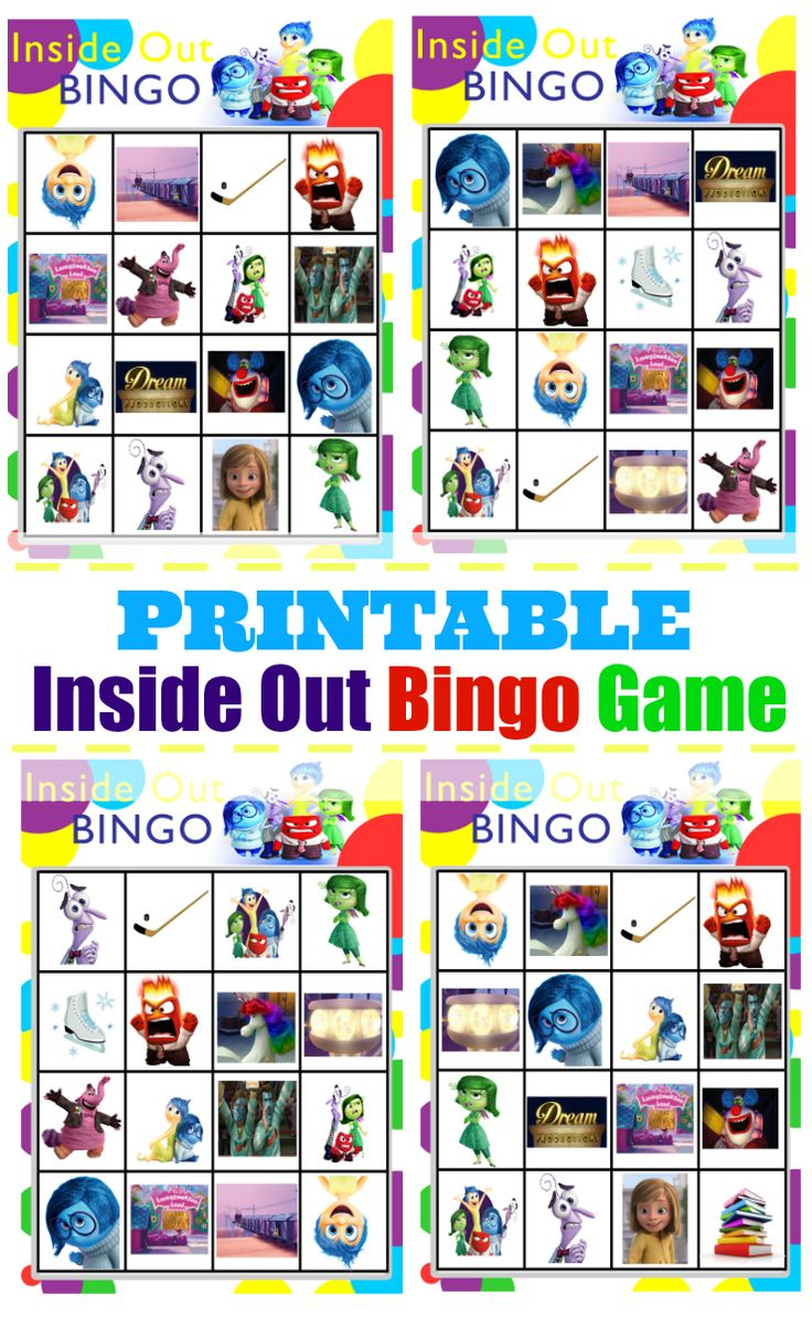 Joy inside out coloring book games - Printable Inside Out Bingo Game Insideoutemotions Ad