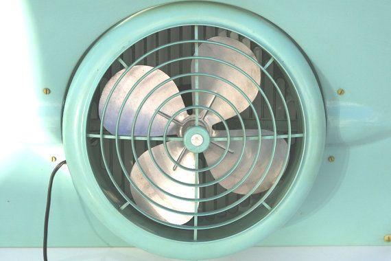 Vintage Window Fan Aqua Window Fan Adjustable by vintagediana72