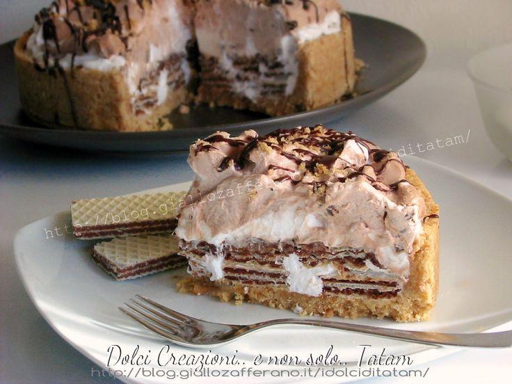 Torta fredda con wafer panna e nutella