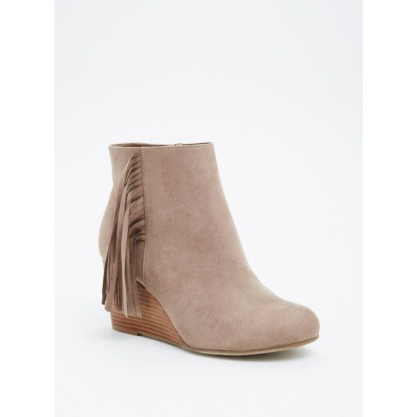 Torrid Wide Fringe Wedge Booties - Wide Width (79 CAD) ❤ liked on Polyvore featuring shoes, boots, ankle booties, fringe ankle boots, fringe bootie, short boots, fringe wedge booties and ankle boots