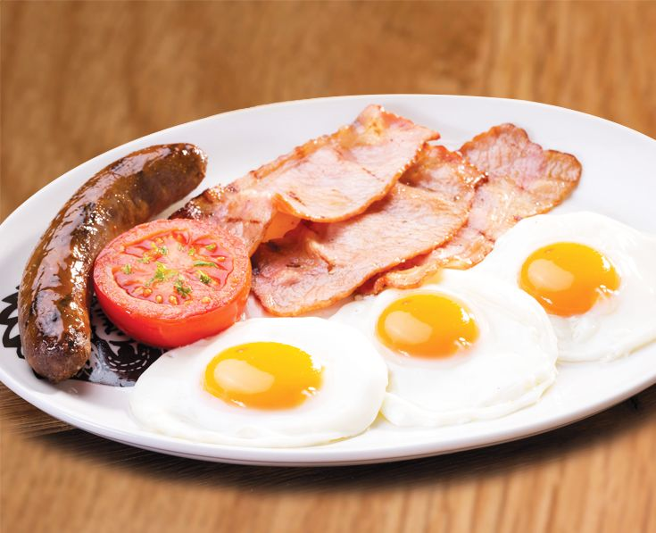 Carb-Conscious: 3 fried eggs. 3 rashers of grilled bacon, 125g wors or 2 pork sausages. With fried tomato. https://www.spur.co.za/menu/breakfast/