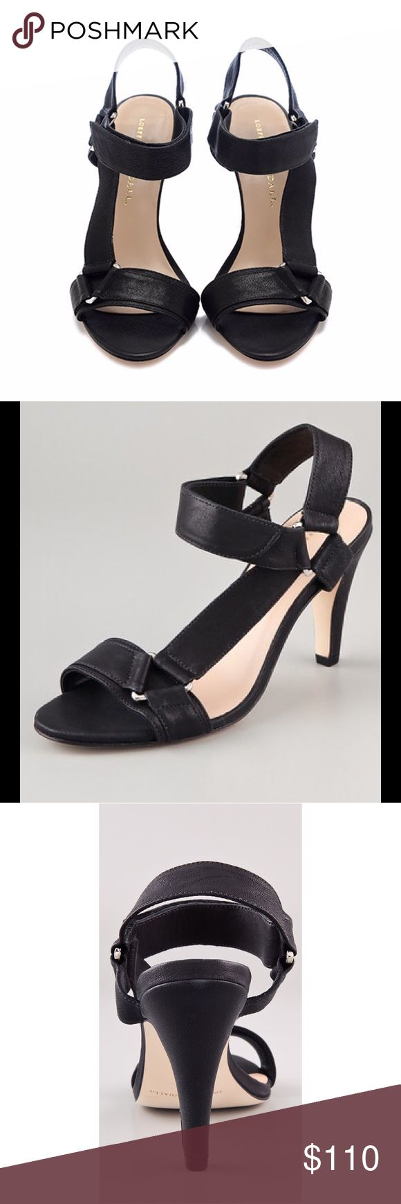 """Loeffler Randall Reba Mid Heel Sandals Loeffler Randall Reba Mid Heel Sandals.  Leather sandals featuring triangle hardware and a Velcro ankle strap.  Covered heel,  leather sole.  3.5"""" heel.  Made in Brazil.  Great condition! Loeffler Randall Shoes Sandals"""