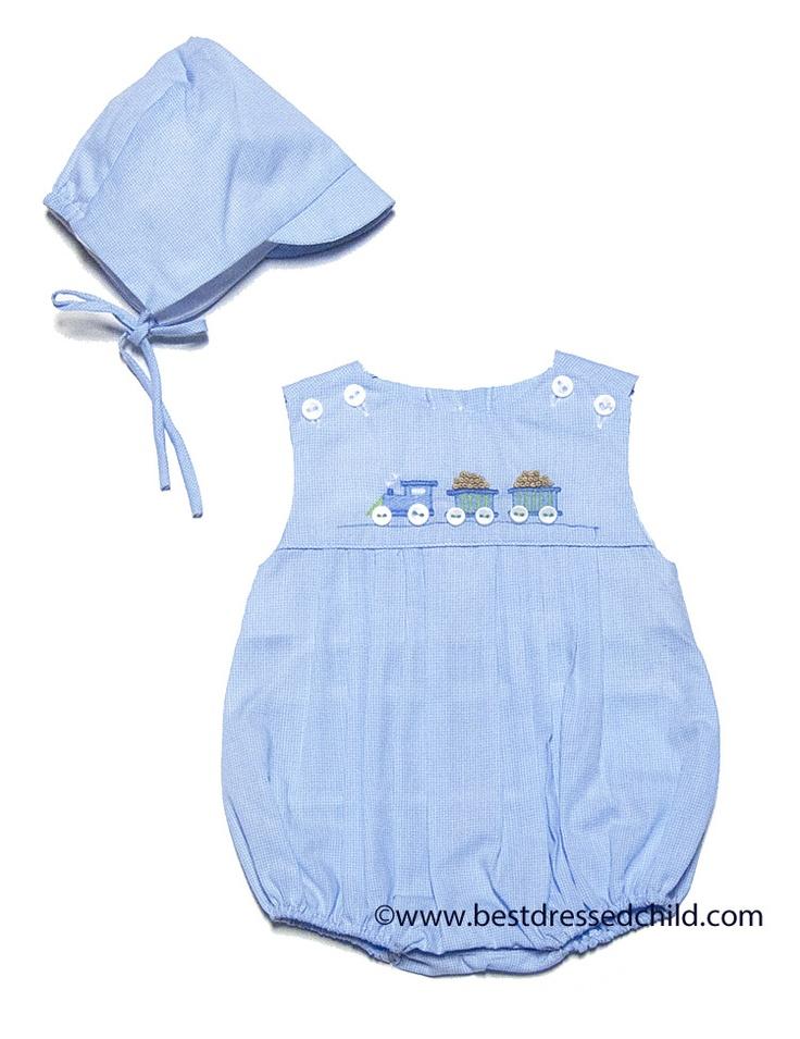 Petit Ami Infant Baby Boys Blue Bubble with Train - Preemie & Newborn Include Hat