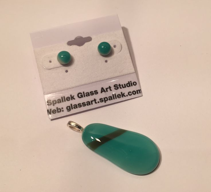 Unique fused glass pendant with matching stud earrings, designed and crafted by spallek glass art.