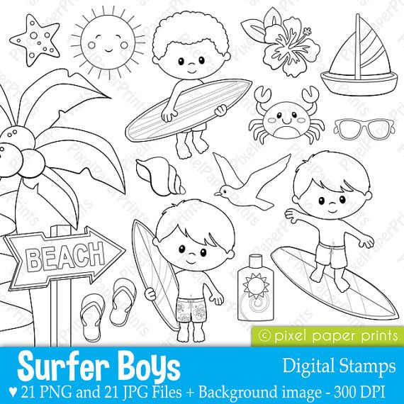 Surfer boys Digital Stamps Clipart by pixelpaperprints on Etsy