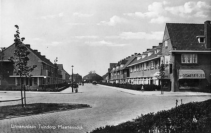 Wijk Tuindorp | Linnaeuslaan | #Jaren30 | Voór 1954 was dit Gemeente Maartensdijk Wij woonden hier vanaf 1967 op nr 54, rechts het vijfde huis vanaf de hoek. Op de hoek de kruidenier, familie De Lange