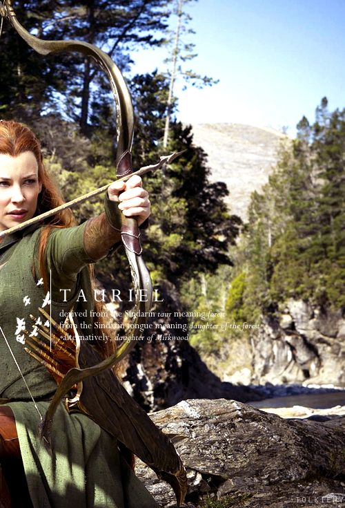"actually, I'm almost sure Tauriel means ""bang a hobbit and you get to be a token female"" in elvish. but I can't back that up with paperwork.   MY OPINION: I could not stomach the whole storyline/deviation/arwen clone/FotR regurgitation (right down to the kingsfoil) of the elf/dwarf love triangle.  I have not objected to a single addition to the story before this because they served the story well.  this made me roll my eyes. a lot."