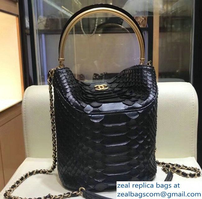 0998e751b7c8 Chanel Python Handle with Chic Bucket Bag A57861 Black 2018