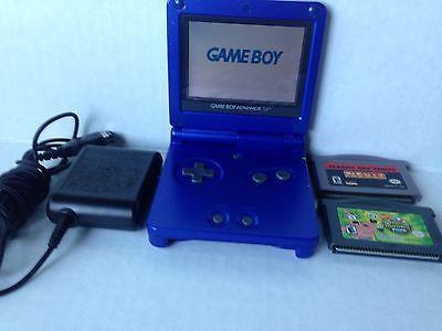 Nintendo Gameboy Advance SP AGS-001 Cobalt Blue Gamer Pack Pacman & Sponge Bob