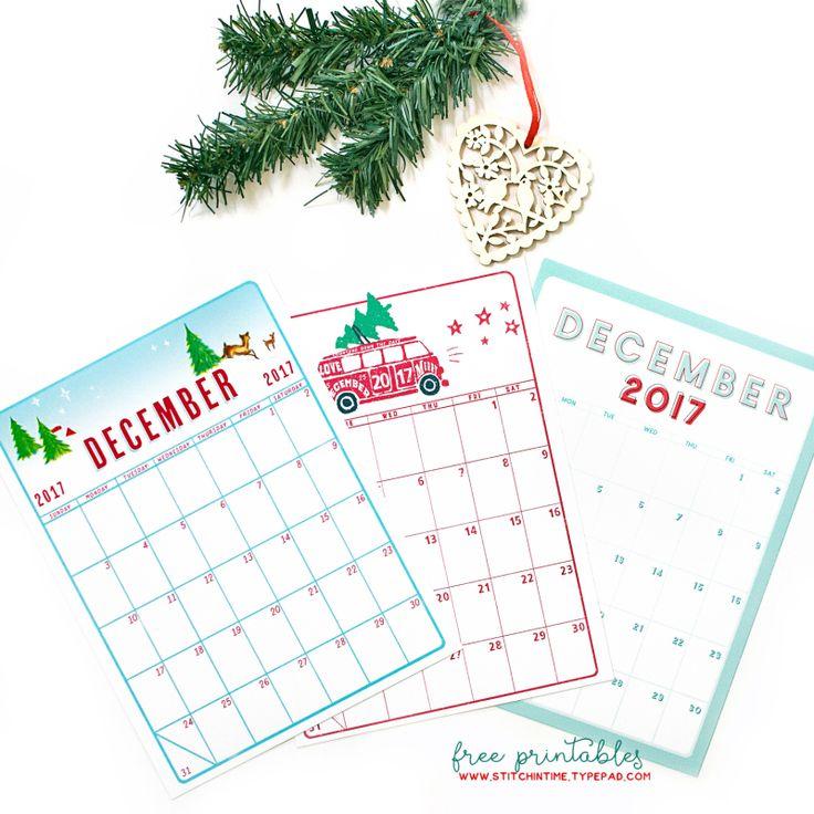 Free December 2017 calendar printable