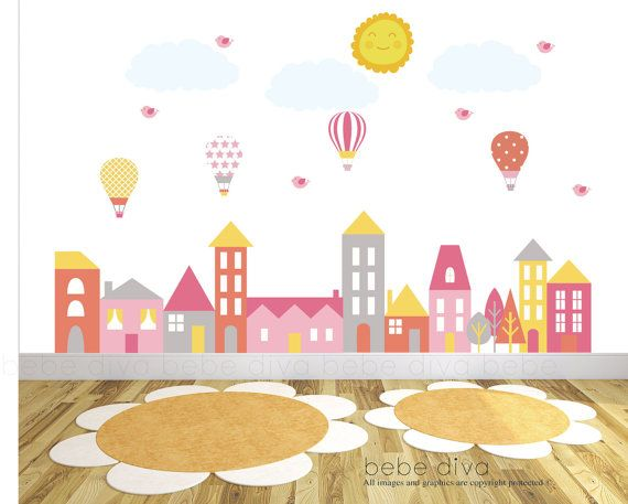 Nursery Wall Decals, Wall Decals Nursery, City scene, wall stickers, vinyl, nursery, kids, wall decal, City Wall Decals