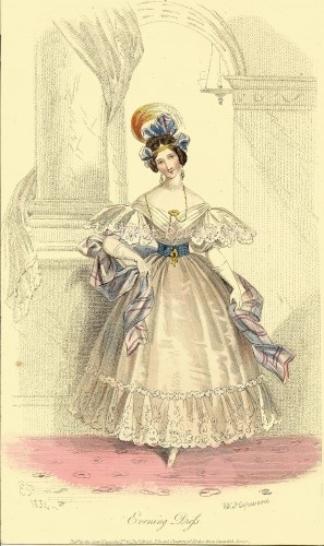"""Antique 1834 Georgian England Society Fashion Engraving Featuring Evening Gown. Court Magazine, 'Original Papers by Distinguished Writers' was a """"ladies magazine"""" and was *the* authority for Fashion and the Arts for early 19th century London Society."""