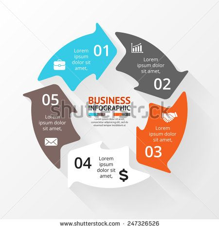 Vector circle infographic. Template for cycle diagram, graph, presentation and round chart. Business concept with 5 options, parts, steps or processes. Abstract background.
