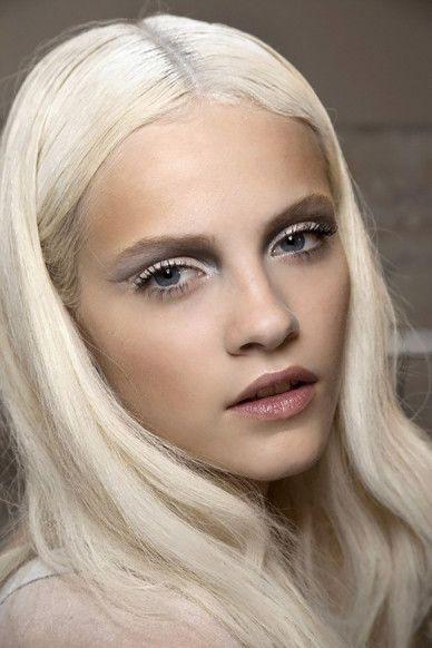 Platinum beauty - frosted mauve lip dramatic eye makeup