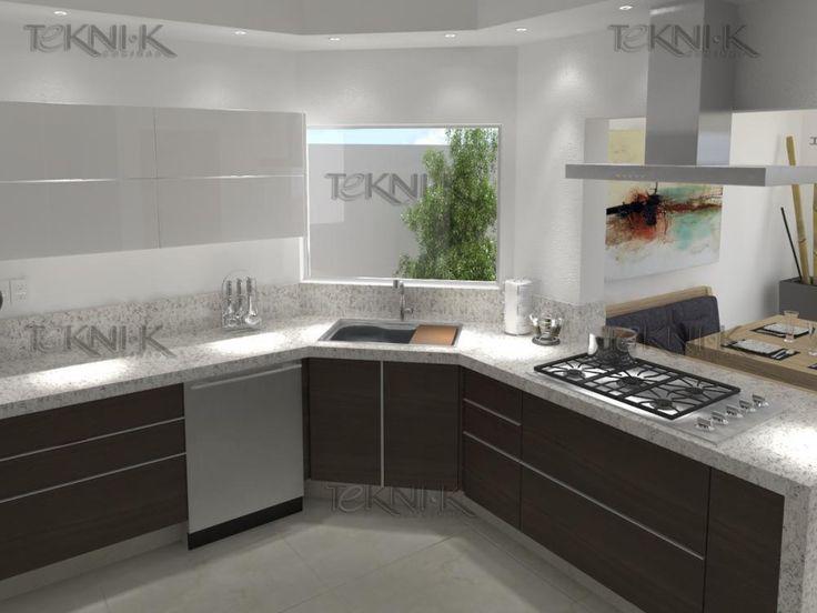 Cocina en foil color limba en los gabinetes mientras que for Cocinas modernas blancas precios