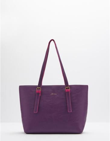Joules Womens Faux Leather Shoulder Bag, Blueberry.