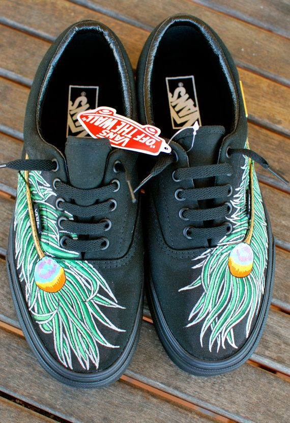 Peacock Feathers on black Era Vans by BStreetShoes on Etsy