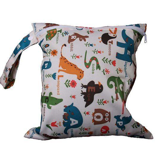 Generic - Borsa/shopper Zipper per il cambio dei pannolini, lavabile e riutilizzabile, motivo: animali e fiori, colore: Beige