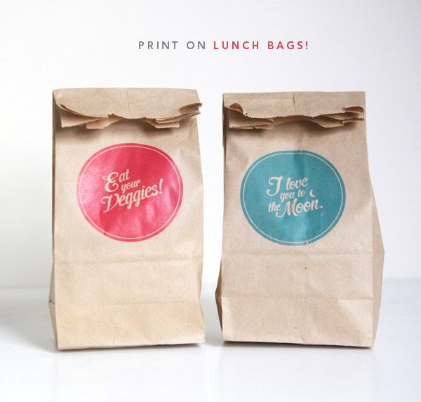 how to print on lunch bags // oh happy day: Favor Bags, Diy Ideas, Brown Paper Bags, Gift, Craft, Lunch Bags