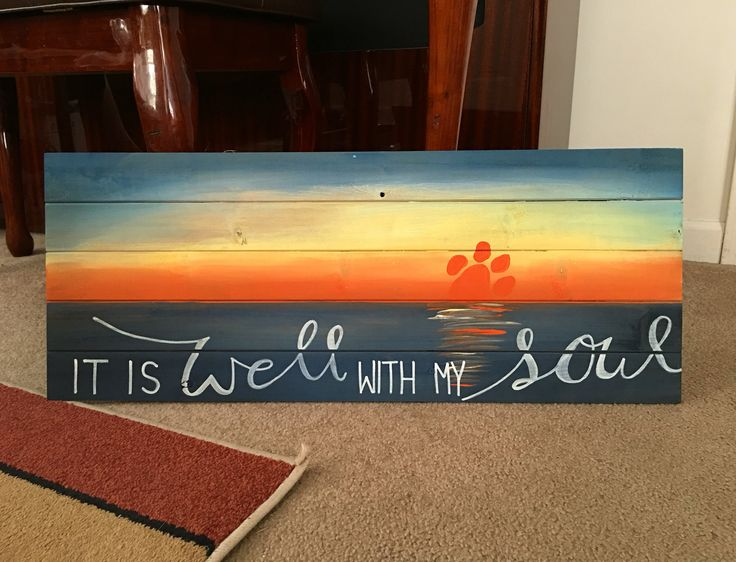 Clemson sunset painting on wood. For sale in my Etsy shop!