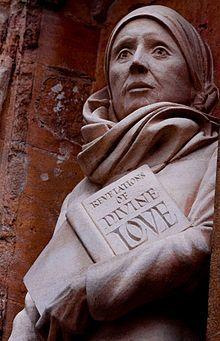 St. Julian of Norwich statue outside Carrow Abbey, my father's (John Shelton's) home.
