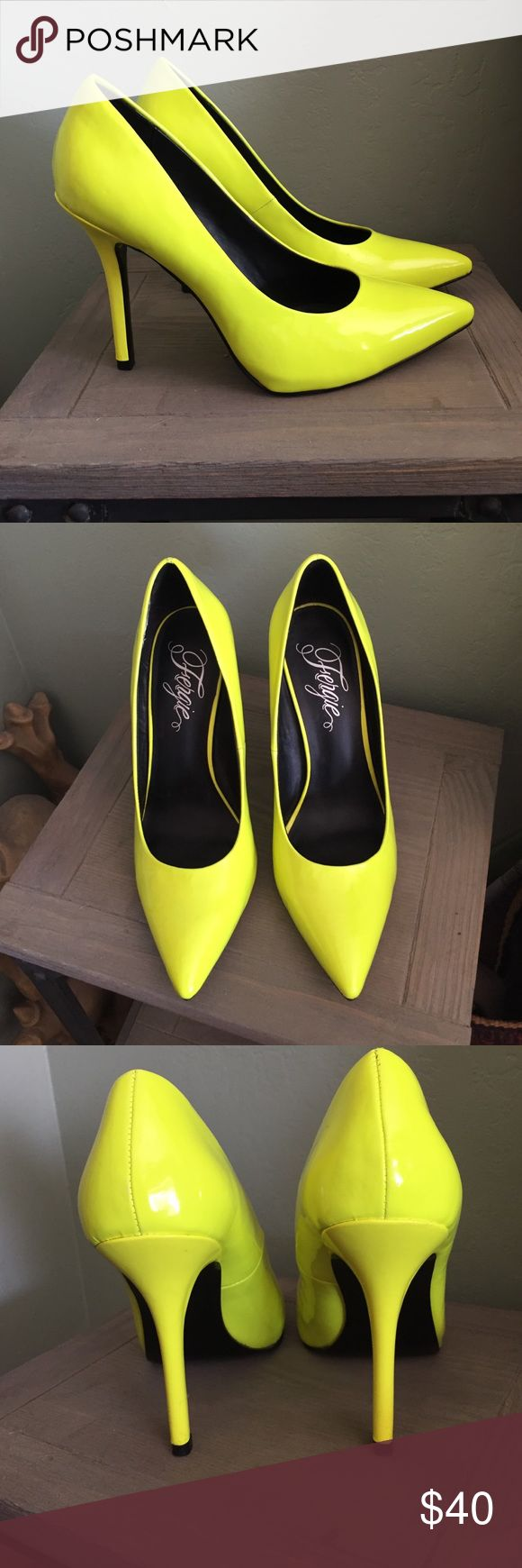Fergie neon yellow pumps Neon pumps with extremely light wear. Minor scuffing on one as shown. Fergie Shoes Heels