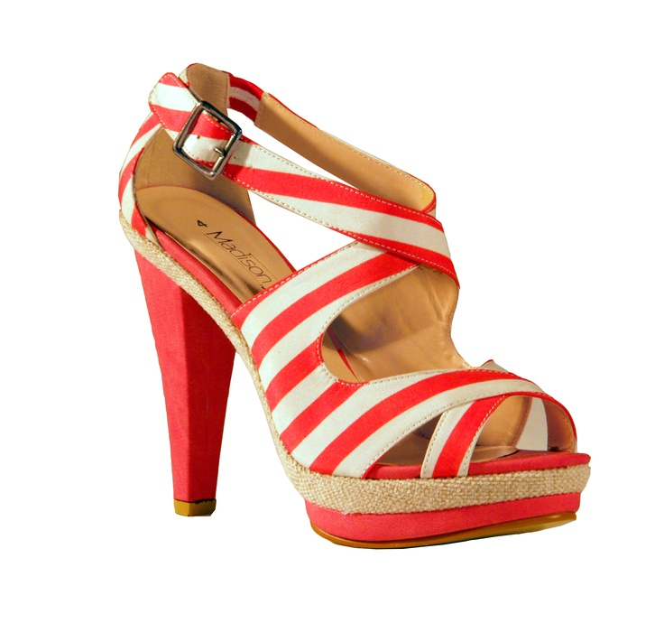 Look on trend this Spring without going overboard in Madison's candy coral striped heels