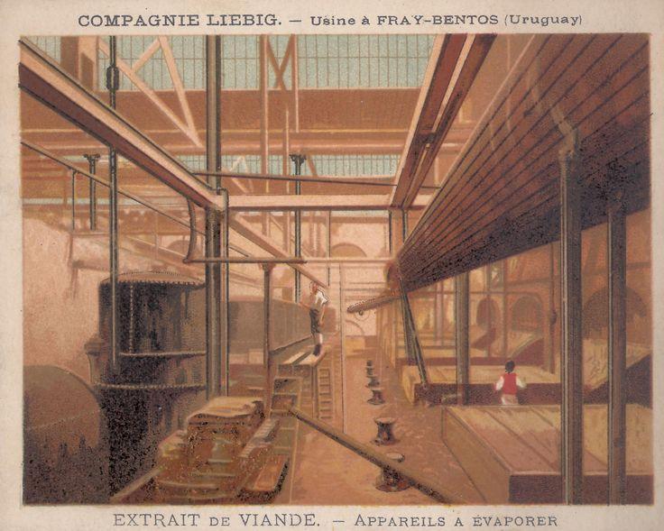 Evaporatori, 1877-78; pubblicità estratto di carne Liebig, Londra; dalla serie di 12 figurine 'Fabbrica dell'estratto di carne a Fray Bentos 2°'